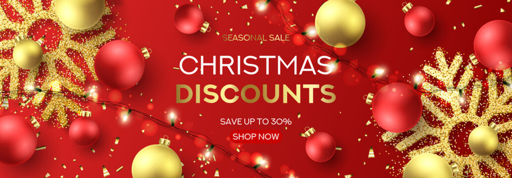 Web banner for Christmas sale. Holiday background with sparkling light garlands, red and golden balls, confetti and snowflakes. Vector illustration. Seasonal discount promotion.