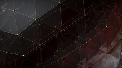 Abstract triangle polygonal brown glass surface on black background. 3D render