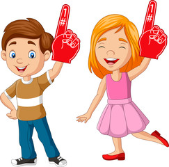 Cartoon boy and girl showing number one with foam finger