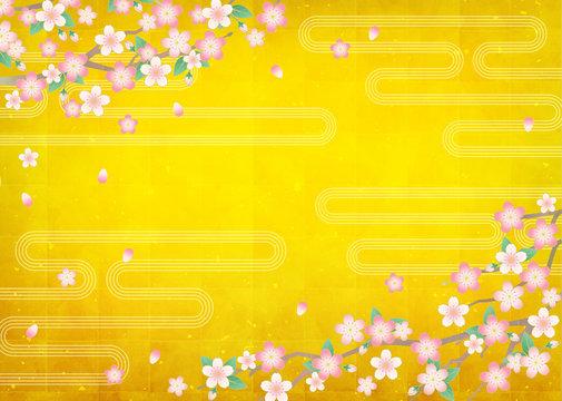 ベクター和風背景素材/桜/金屏風・金箔テクスチャー