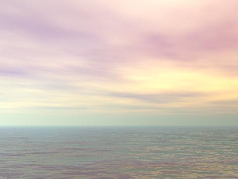 Cloudy sunset over the ocean - 3D render