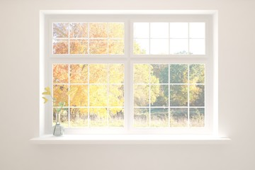 Stylish empty room with yellow flower and autumn landscape in window. Scandinavian interior design. 3D illustration