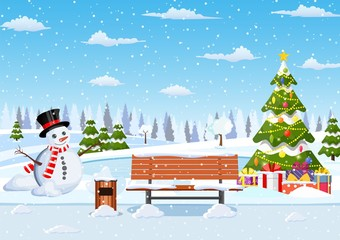 Photo sur Plexiglas snowy winter city park with Christmas trees, bench, snowman. Winter Christmas landscape for banner, poster, web. Vector illustration in flat style