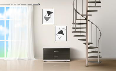 Room with spiral staircase. Empty living interior with curtained window, commode, pictures on wall and wooden floor. Modern home design with metal helical round ladder Realistic 3d vector illustration