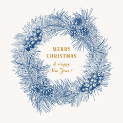 Christmas blue wreath with winter plants on white background. Vintage composition. Botanical vector illustration.