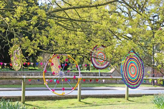 Yarn bombs on trees