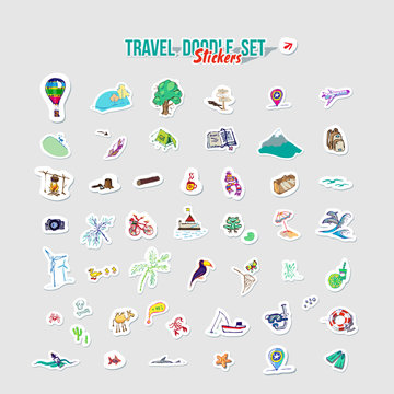 Summer holidays, ocean travel, mountain trip. Vector Set for summer time vacation. Set of stickers with sketch design element summer theme. Hand drawn doodle stickers with adventure objects