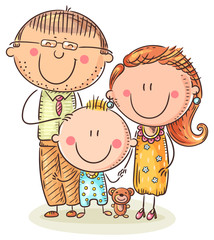 Fototapete - Happy family with one child, colorful vector illustration