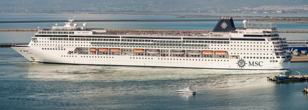 Cagliari, Italy 27/09/2016; MSC Armonia enter on the Cagliari harbor