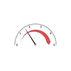 Auto tachometer or Speedometer gauge with. Technology indicator. Stock Vector illustration isolated on white background.