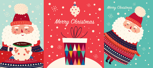 Fotomurales - Vector set of Christmas cartoon illustration. Cute Santa Claus with a cup of hot chocolate, gift box