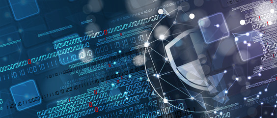 Cybersecurity and information or network protection. Future technology web services for business and internet project