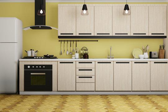 modern interior design of yellow kitchen, 3d rendering background