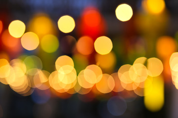 Abstract blur multi-color bogey and light at night background.