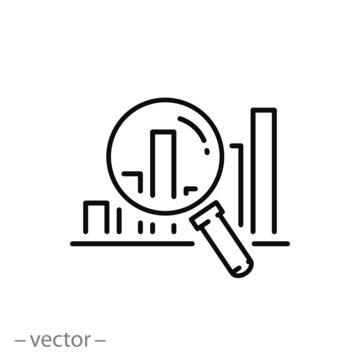 prediction market icon, forecast forecast, financial analysis, predict review, thin line web symbol on white background - editable stroke vector illustration eps 10