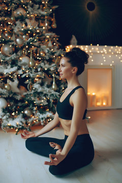 Yoga Christmas. Yoga class at home.