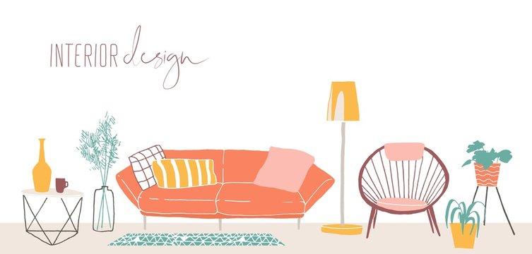 Modern home interior design hand drawn vector illustration. Trendy retro style apartment furnishing concept. Vintage living room furniture, sofa, chair, floor lamp and houseplants isolated on white.