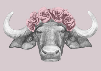 Portrait of Buffalo with floral head wreath. Hand-drawn illustration. Vector isolated elements.