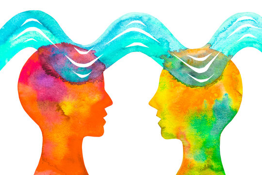 Dipinto acquerello telepatia. Comunicazione con pensiero.