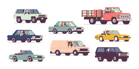 Tuinposter Cartoon cars Cars and drivers set, business transportation, urban trip. Male, female persons driving different vehicles, city transport, automobile service, renting or work. Vector flat style cartoon illustration