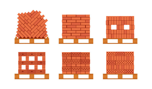 Vector brick pallet icons in flat style