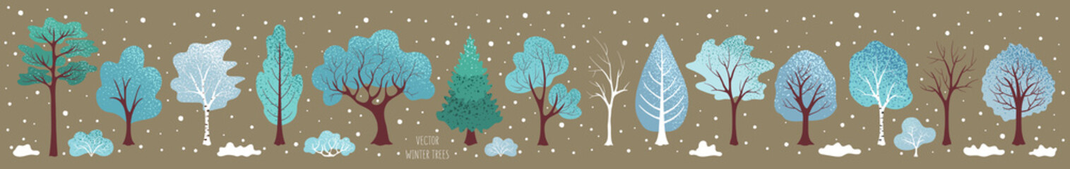 Winter  trees, bush. Set of plants. Cute elements for vector Christmas design, illustration for new year. Winter landscape