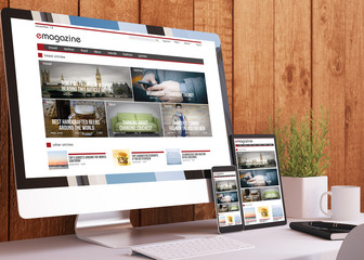 responsive devices on wooden studio e-magazine website mock up