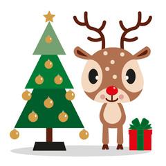 Rentier mit geschmückten Weihnachtsbaum und Geschenk
