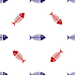 Blue and red Fish skeleton icon isolated seamless pattern on white background. Fish bone sign. Vector Illustration