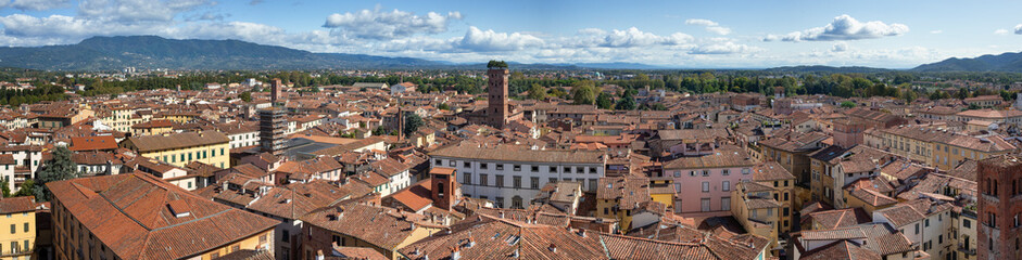 Panorama. Lucca Tuscany Italy. View from the Lucca Tuscany Italy. Torre delle Ore, Clocktower. Guinigi Tower. Panoramic view