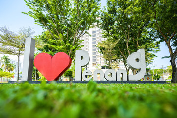 I love Penang sign in a public park in Georgetown, Penang, Malaysia. Penang is a Malaysian state...