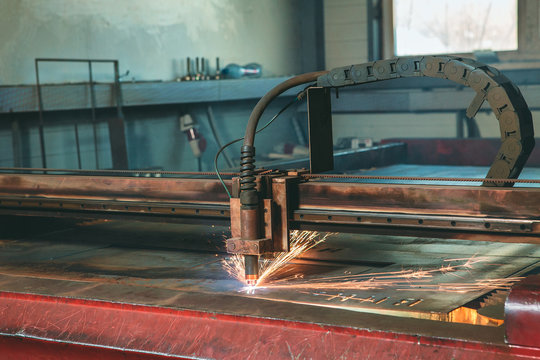 Plasma cutting CNC machine in the workshop