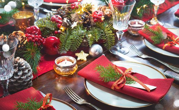 Christmas holidays table setting concept