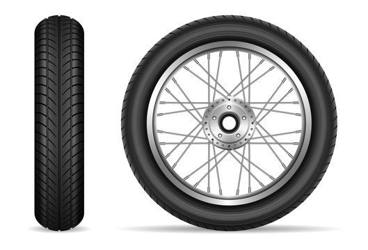 Motorcycle tires isolated on white background vector illustration