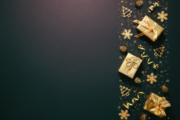 Christmas golden decoration on dark background