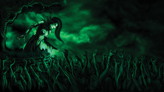 Zombie crowd greeting lady necromancer background/ Illustration warlock mistress in gothic outfit above mass of zombie hands. Digital painting