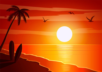 Poster de jardin Brique Image, background beautiful sunset on the beach