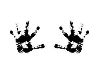 Trace of human hands, silhouette. Vector imprint of children's hands, black color. The object is isolated on a white background.