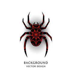 Abstract spider silhouette. Logo, icon. Vector object isolated on a light background.