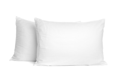 Blank soft new pillows isolated on white