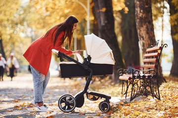 Mother in red coat have a walk with her kid in the pram in the park with beautiful trees at autumn time