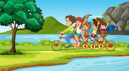 Poster Regenboog Scene with family on tandem bike