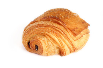 French traditional puff pastry with two piece of  dark chocolate inside  - petit pain au chocolat isolated on white background. Fototapete
