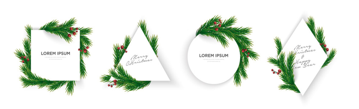 Set of minimal christmas tree branches and cherry geometric frame eps10 vector template