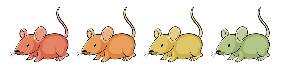 Mouse in four different colors