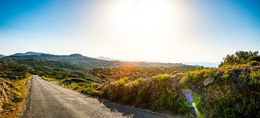 Wall Mural - Empty long mountain road to the horizon on a sunny summer day at bright sunset