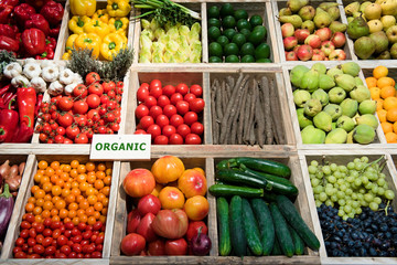 Markt, Gemüse, Obst, Schild, Bio