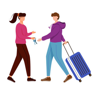 Couchsurfing flat contour vector illustration. Lodging without charge. Girl gives keys to her guest. Budget tourism. Cheap travelling choice isolated cartoon outline character on white background