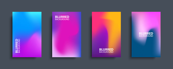 Blurred backgrounds set with modern abstract blurred color gradient patterns. Templates collection for brochures, posters, banners, flyers and cards. Vector illustration. Fotobehang