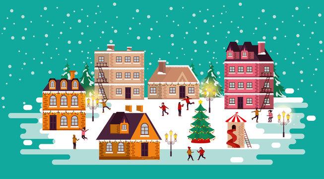 christmas winter street scene with people happy